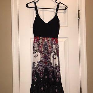 Bebe Black/red/purple flowy dress